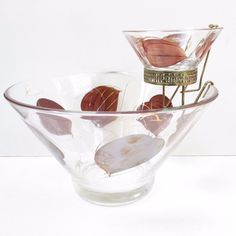 Vintage 50s Chip and Dip Set Glass Painted Leaves Leaf Brown Gold Clear Bowls #Unbranded