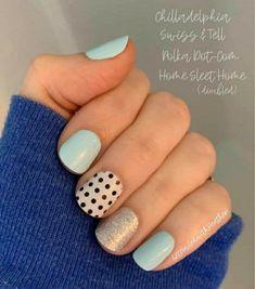 Diy Nails, Cute Nails, Pretty Nails, Nail Color Combos, Nail Colors, Nail Polish Designs, Nail Art Designs, Polka Dot Nails, Chevron Nails