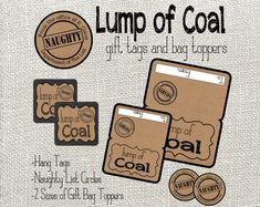 Lump Of Coal Gift Tags and Gift Bag Toppers. by LilacsAndCharcoal. Naughty List, Lump of Coal, Coal Ideas