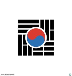 건곤감리 로고 일러스트 ai 무료다운로드 free Korea flag logo -  Urbanbrush Logos, Logo Branding, Korea Logo, Korea Design, Flag Logo, Green Logo, Logo Restaurant, Korean Art, Flag Design