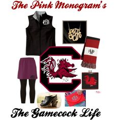 """The Pink Monogram's The Gamecock Life"" by thepinkmonogram on Polyvore"