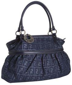 fendi Blue Denim and Raffia Zucca Chef Shoulder Bag - Lyst Fendi Designer 1938f37bdb0be