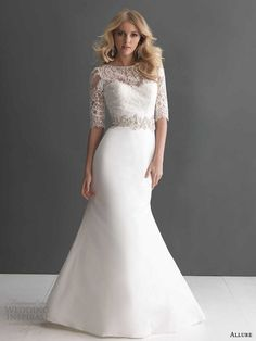 allure bridals fall 2013 wedding dress with sleeves illusion neckline style 2666