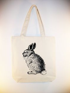 Vintage Bunny illustration on 15x15 Canvas Tote with shoulder strap - larger zip top tote available, ANY IMAGE COLOR