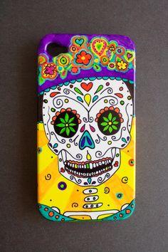Catrinas Hand Painted Sugar Skull Cell Phone Case by MandaPandaCA, $27.99