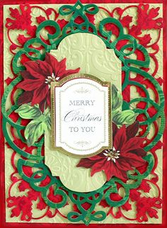 Look closely at the detail and layering of this beautiful Christmas card! Holiday Greeting Cards, Xmas Cards, Christmas Greetings, Christmas Wishes, Christmas Card Display, Vintage Christmas Cards, Card Making Inspiration, Making Ideas, Poinsettia Cards