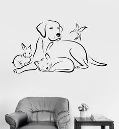 Vinyl Wall Decal Pets Animals Dog Bird Cat Veterinary Medicine Stickers (ig3380)