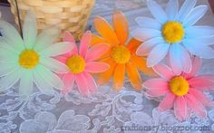 Nylon flower daisy (flower tutorial with full instructions) - Craftionary