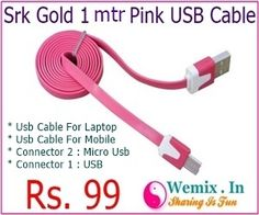 Srk Gold 1 mtr Pink USB Cable Rs 99