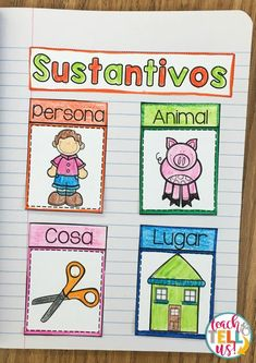 Sustantivos - Teach and Tell Us Learning Sight Words, Spanish Teaching Resources, Literacy Stations, Hands On Activities, Spanish Language, Reading Comprehension, Booklet, Martini, Preschool