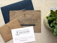 Nautical Real Wooden Wedding Invitation, Anchor Navy Wedding Invitation on Etsy Nautical Wedding Invitations, Wedding Stationery, Invites, Nautical Wedding Inspiration, Anchor Wedding, Sister Wedding, Island Weddings, Wedding Paper, Invitation Design