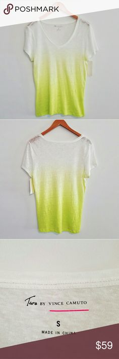 "Two by Vince Camuto Ombre Dip Dye Tee - Linen Dip dye tee from Two by Vince Camuto. NWT!  Soft, thin, linen fabric dyed a beautiful yellow-green color. Ombre style. Fabric is slightly stretchy. You might want to wear a cami or bandeau underneath.   Several picks to the fabric all over the shirt but appears to be part of the design. As see in photo  Size small.   Measures approximately:  Shoulder to shoulder - 17"" flat across Underarm to underarm - 21"" flat across Front - top to bottom at…"