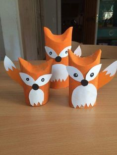 Foxes from toilet paper rolls .Foxes from toilet paper rolls moreThe cutest toilet paper craftOne thing I love about crafts is how they develop! These toilet paper rolls are adorable and modern. Toddler Crafts, Preschool Crafts, Crafts For Kids, Arts And Crafts, Craft Kids, Toilet Roll Craft, Toilet Paper Roll Crafts, Fox Crafts, Animal Crafts