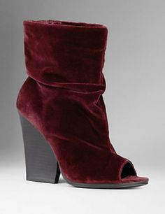 BURBERRY Velvet Peep-Toe Ankle Boots