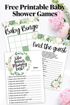 Free Baby Shower Games - - Free Baby Shower Bingo Printable to play at your Baby Shower. Our FREE printable Baby Shower games help you plan your Baby Shower the easy way! Bingo Baby Shower, Baby Shower Virtual, Baby Shower Boho, Easy Baby Shower Games, Free Baby Shower Printables, Baby Shower Advice, Tea Party Baby Shower, Baby Shower Activities, Baby Games