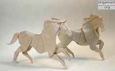 The complex origami: running horse origami DIY graphic