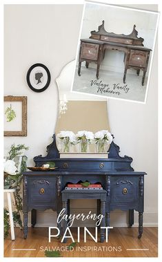 Vintage Furniture Before and After Chalk Mineral Painted Vintage Vanity - Tutorial by Salvaged Inspirations Repurposed Furniture, Rustic Furniture, Vintage Furniture, Furniture Decor, Modern Furniture, Furniture Layout, Furniture Storage, Furniture Design, Outdoor Furniture