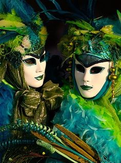 Two blue and green maschere