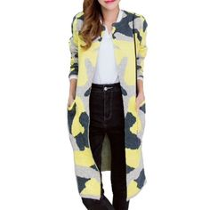 Yellow Women Open Stitch Camouflage Color Trench Coat