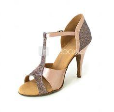 Zapatos de salón de brillo negro Zapatos de baile latino de punta redonda Criss Cross Zapatos de baile de tango de mujer ByZ8FjH
