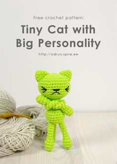 Free crochet pattern: Tiny long-legged cat // Kristi Tullus (sidrun.spire.ee)