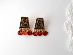 Gorgeous oriental style stud earrings with Czech glass rose petals by RicePaperJewels on Etsy