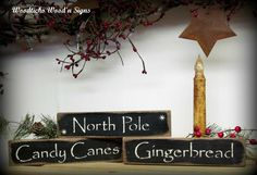 Holiday Wood Signs North Pole Candy Canes by Woodticks on Etsy