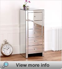 Venetian Mirrored Slimline Compact 5 Drawer Tallboy