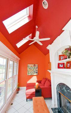 oh shiz. pantones tangerine tango on the walls? darker roof also pretty cool!