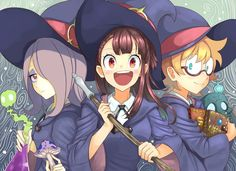 Happy anime girls, Atsuko Kagari, Lotte Yanson, Sucy Manbavaran, anime wallpaper
