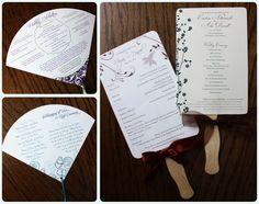 Custom Wedding Program Fans with Ribbon Streamers or Wooden Handles