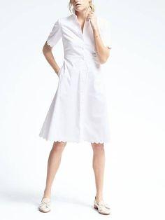 BR White Scallop Shirtdress