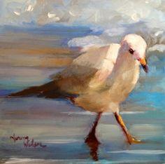 Norma Wilson Original Oil Blue Bird Aviary Painting Art, painting by artist Norma Wilson