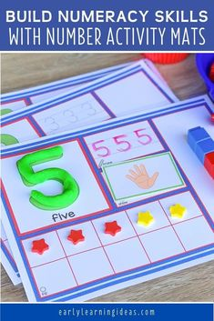 Use these 1-20 number activity mats to help your kids in preschool, pre-k and kindergarten Small Group Activities, Number Activities, Gross Motor Activities, Counting Activities, Numbers Preschool, Preschool Math, Fun Math, Printable Numbers, Printable Cards