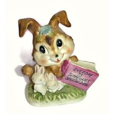 Vintage Bunny Figurine Ceramic Rabbit Statue Porcelain Easter Bunny Someone Special Gift Easter Bunny Bun Bun Kitsch Collectible Knick Knack (21 CAD) found on Polyvore featuring home, home decor, holiday decorations, vintage home decor, ceramic statues, vintage holiday decorations, bunny rabbit figurines and bunny figurines