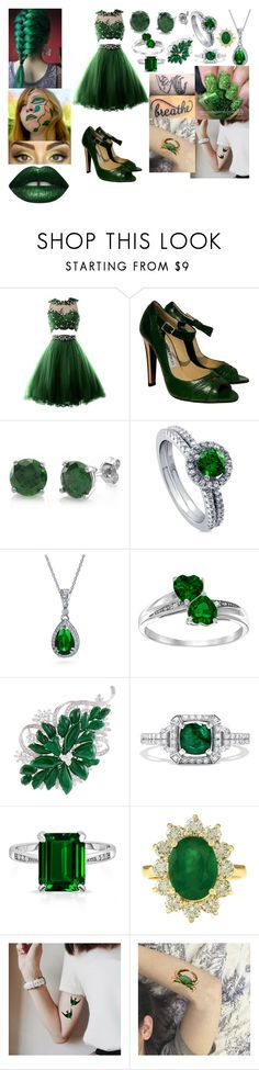 Green Festival by teenie6705 on Polyvore featuring moda, Jimmy Choo, BERRICLE, LC COLLECTION, Bling Jewelry, Effy Jewelry, LASplash and GREEN