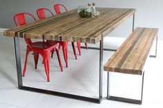 Modern Industrial Dining Table & Bench. $2,650.00, via Etsy.