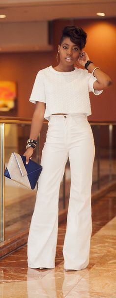 WHITE HIGH WAIST WID