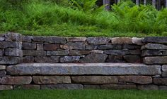 southwest-harbor-maine-garden-matthew-cunningham-gardenista idea, various height hang out spaces/recessed benches in the retaining walls behind the new build Backyard Retaining Walls, Rock Retaining Wall, Landscape Edging Stone, Landscape Design, Wall Bench, Wall Seating, Mount Desert Island, Garden Seating, Garden Benches