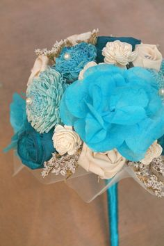 Blue Alternative Wedding Bouquet ~ Made From Ivory & Aqua Wood Flowers, Turquoise Paper Flowers, and Dried White Wildflowers by TheSunnyBee #something blue #blue bouquet