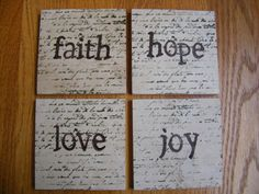 Faith Hope Love Joy Coasters Travertine by whimsycreationsbyann, $15.00