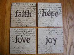 Faith Hope Love Joy Coasters Travertine by whimsycreationsbyann, $15.00