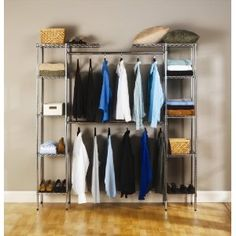Great for a storage room to house off season jackets. OR a toy room - dress up clothes at the bottom & storage provided on sides. Seville Classics Expandable Closet Organizer- at The Home Depot Smart Closet, Closet Rod, Wardrobe Closet, Closet Storage, Closet Organization, Storage Rack, Closet Shelving, Storage Shelves, Hanging Wardrobe