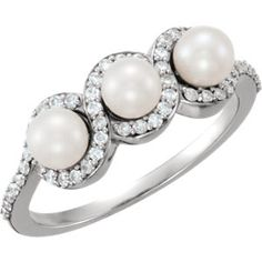 14kt White Freshwater Cultured Pearl & 1/4 CTW Diamond Ring  #ModernByMegeanContemporaryJewelry