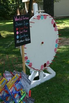 """The """"Wheel of Fortune"""" spinning wheel game. The """"Wheel of Fortune"""" spinning wheel game. School Carnival Games, Diy Carnival, Carnival Themed Party, Spring Carnival, Carnival Birthday Parties, Circus Birthday, Circus Party, Carnival Prizes, Church Carnival Games"""