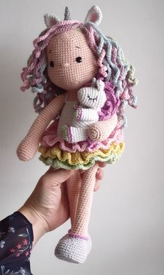 Amigurumi crochet pattern Lou the unicorn doll image 3 Crochet Doll Tutorial, Crochet Doll Pattern, Crochet Patterns Amigurumi, Amigurumi Doll, Crochet Dolls, Crochet Fairy, Crochet Unicorn, Cute Crochet, Crochet Animal Patterns