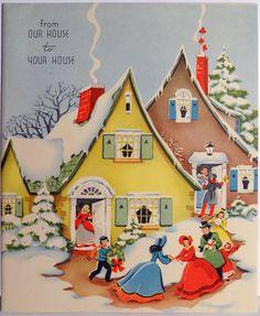 40s Quaint Houses in The Snow Vintage Christmas Card...