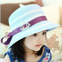 0df70e346c5 Blue and white striped bucket hat with bow for girls kids straw sun hat
