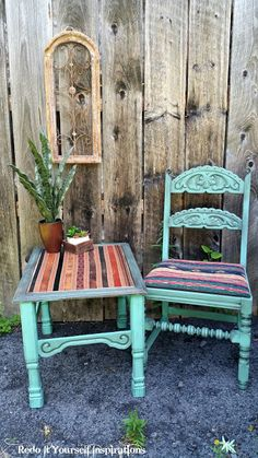 Furniture makeovers: Southwestern Leather Belt Table and Carved Chair
