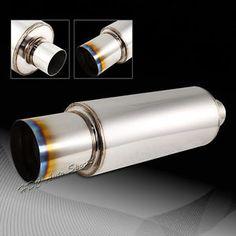 For-Honda-Acura-N1-Style-4-034-Burnt-Tip-Racing-Weld-On-Exhaust-Muffler-2-5-034-Inlet